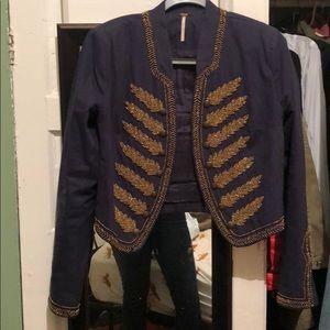 Navy gold beaded uniform jacket